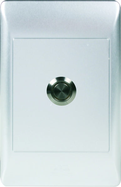 PUSH BUTTON  SWITCH C/W 2x4 SILVER COVER PLATE