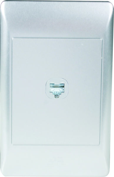 RJ12 SOCKET OUTLET (FEMALE) 2x4 C/W SLIVER COVER PLATE