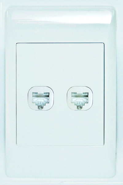 2 X RJ12 SOCKET OUTLET  2x4 C/W WHITE COVER PLATE
