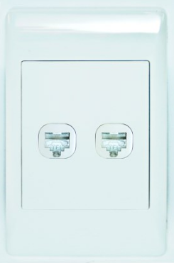 2 X CAT6 SOCKET OUTLET  2x4 C/W WHITE COVER PLATE