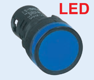 BLUE LED PILOT LIGHT HI-BRITE 30mm 230VAC