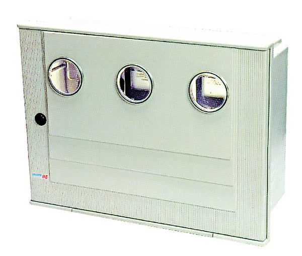 METER BOX 520x700x220 NO CHASSIS PLATE, 2 METER WINDOWS