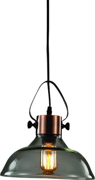 230VAC 60W 1XE27 PENDANT ANTIQUE COPPER AND GLASS 250DIA.