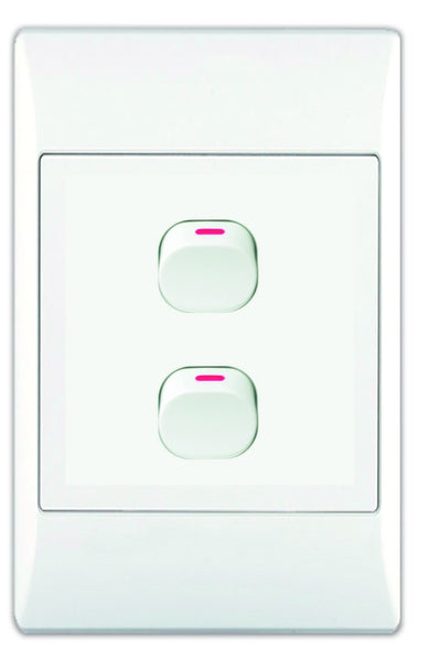 2-LEVER 1-WAY SWITCH 2x4 WITH WHITE COVER PLATE