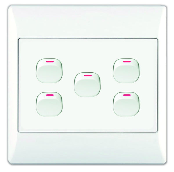 5-LEVER 1-WAY SWITCH 4x4 WITH WHITE COVER PLATE