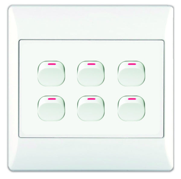 6-LEVER 1-WAY SWITCH 4x4 WITH WHITE COVER PLATE