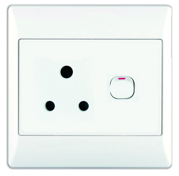 16A SWITCHED SOCKET OUTLET 4x4 WITH WHITE COVER PLATE