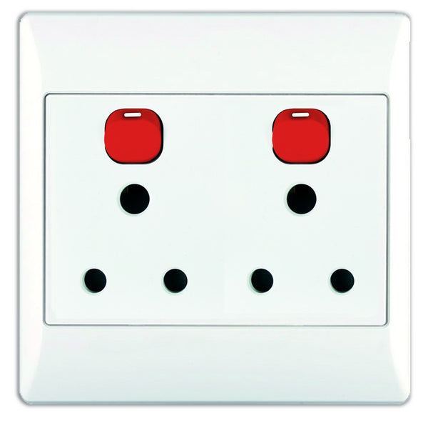 2X16A DEDICATED WHITE SWITCHED SOCKET OUTLET 4x4