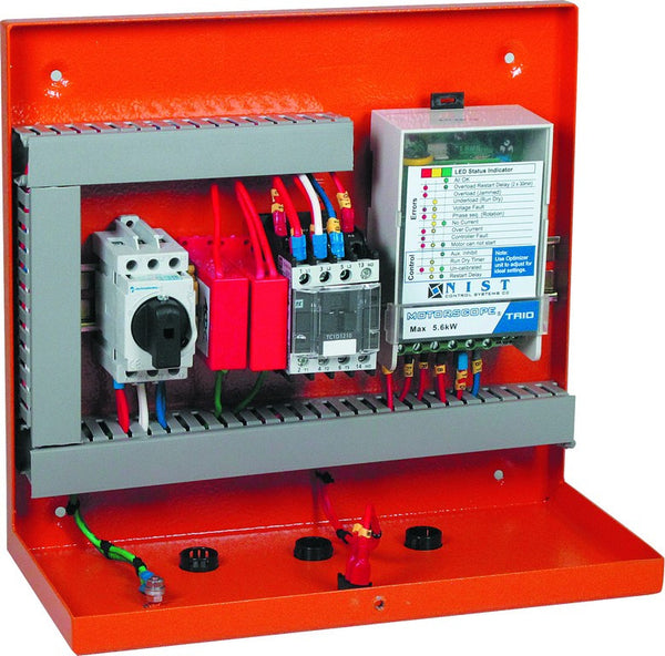 1.5kW 230V BOREHOLE PUMP PANEL WITH TE03 ORANGE STL IP43