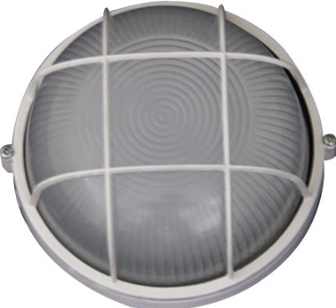 230VAC 12W BLACK LED CAGE BULKHEAD (6000K) 240MM DIA. IP54
