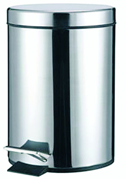 S/STEEL PEDAL BIN 12LITRE 250MM DIA X 300MM HIGH
