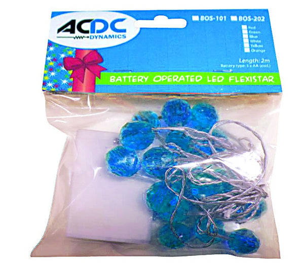 BLUE LED FLEXI STARWITH CRYSTAL CAPS BATTERY OPERATED