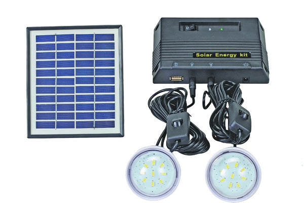 SOLAR KIT,C/W 4W SOLAR PANEL, 2X 0.9W LED BULBS