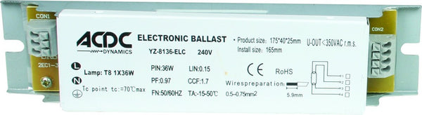 36W ELECTRONIC BALLAST FOR YZ-8136 FITTINGS