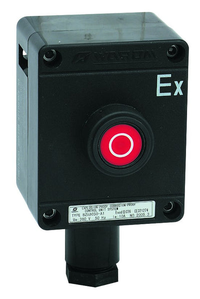 CONTROL STATION. EX. PROOF, STOP BUTTON, RED