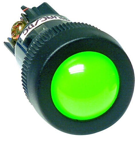 GREEN 230VAC/DC ECONO CLUSTER LED 22MM