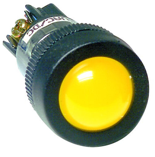YELLOW 230VAC/DC ECONO CLUSTER LED 22MM