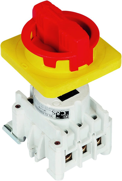 63A 4P ISOLATOR + RED/YELLOW HANDLE & 70mm SHAFT