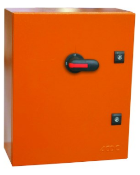 400A 3P BS FUSED ISOLATOR ENCLOSED ORANGE STEEL IP54