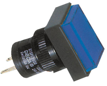 16MM BLUE RECTANGULAR PILOT LIGHT