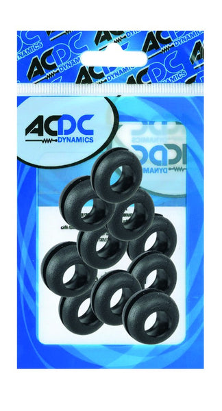 RUBBER GROMMET. BLACK, 15.9X6.3MM , 9.5MM HOLE / 100