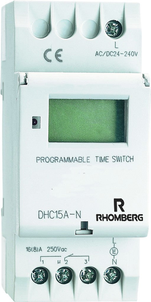 230VAC 24HR/7DAY 20A DIGITAL TIMER DIN RAIL 36x60mm