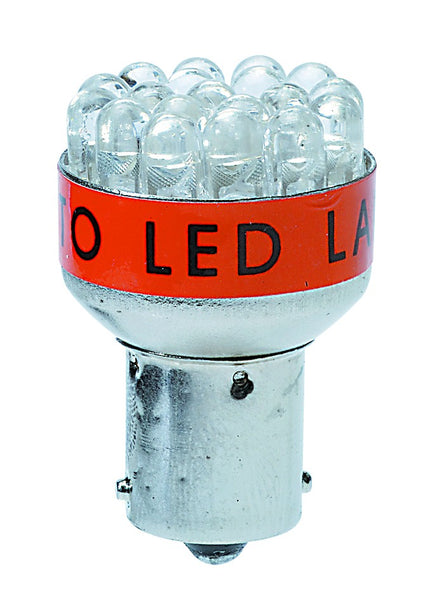 RED LED LAMP 12VDC 1.3W BA15S/ 2 PER PACK