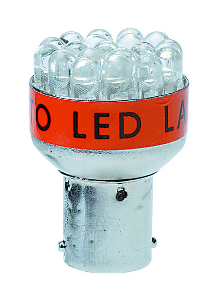 RED LED LAMP 1.3W BA15D/ 2 PER PACK