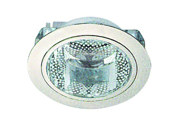SATIN NICKEL CFL DOWNLIGHTER C/W GLASS 160x110 13W