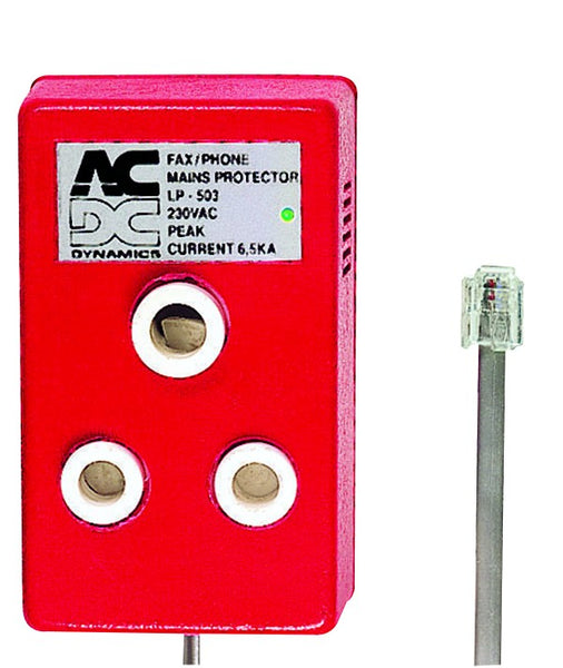 DEDICATED MAINS PLUG LIGHTNING PROTECTED RED