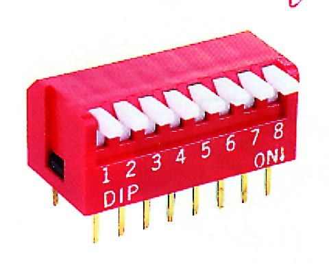 8-WAY DIP SWITCH. PIANO TYPE RED