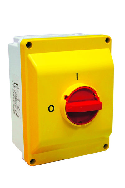 ENCL 125A 3-POLE ISOLATOR RED/YELLOW HANDLE IP55