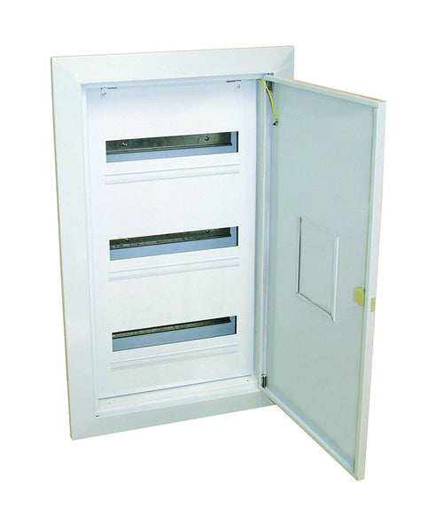 WHITE STEEL DIN DB FLUSH 2x16(32)-WAY WITH DOOR AND TRAY