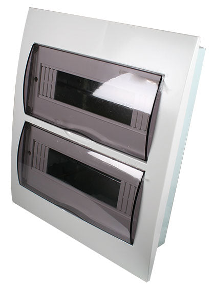 WHITE DIN DB 24-WAY(2x12) FLUSH WITH DOOR AND TRAY