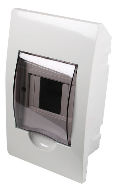 WHITE DIN DB 4-WAY FLUSH WITH DOOR AND TRAY