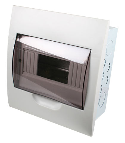 WHITE DIN DB 8-WAY FLUSH WITH DOOR AND TRAY