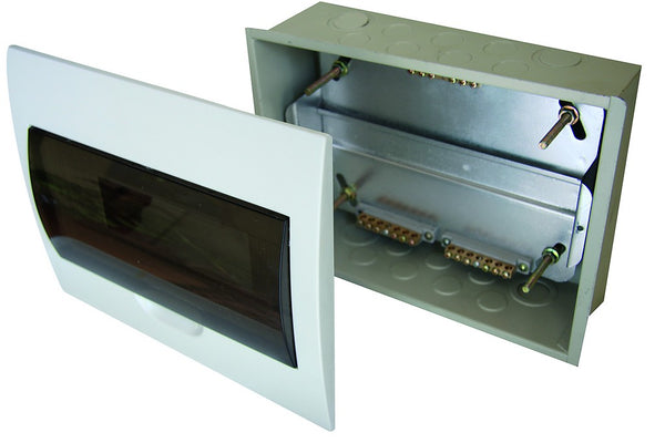 WHITE DIN DB 12-WAY FLUSH WITH DOOR AND TRAY