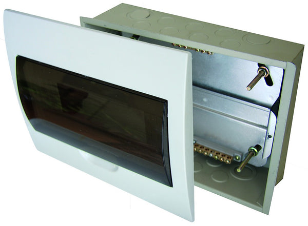 WHITE DB 20-WAY FLUSH WITH INNER TRAY FOR 13mm MCBs
