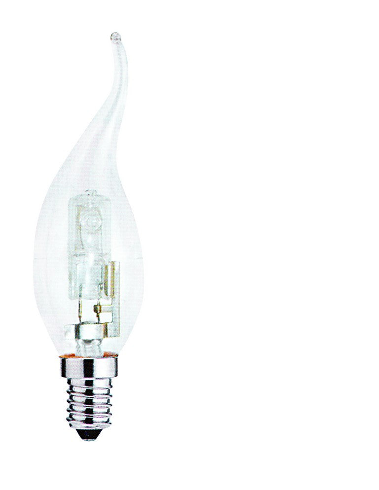 42W 230V HALOGEN CLEAR FLAME CANDLE LAMP E14
