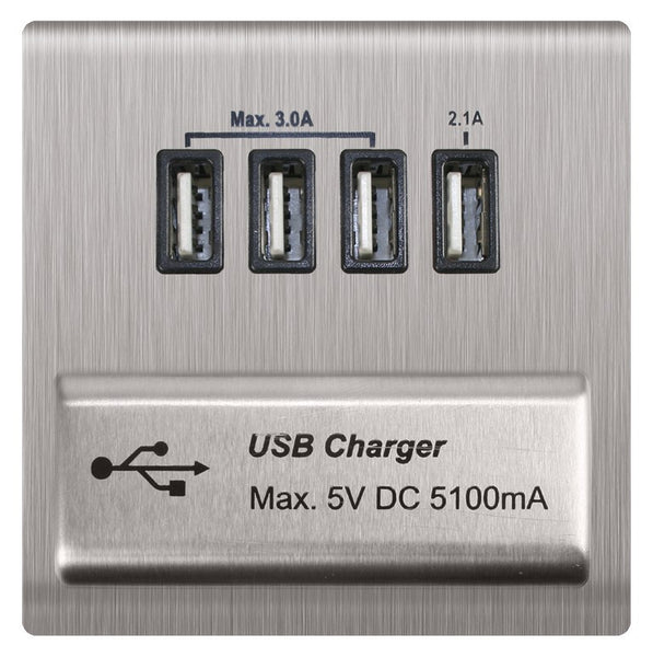 4 X USB 5V/5.1A MAX (3X3) STAINLESS STEEL