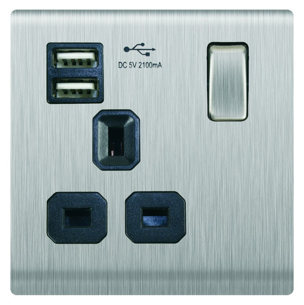 1 X UK SW SOCKET 2 X USB 5V/2.1A MAX (3X3) STAINLESS STEEL