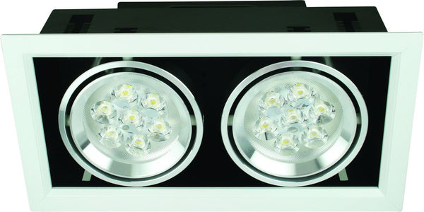 230VAC GRILLE LED DOWNLIGHT 2 X 7W WARM WHITE