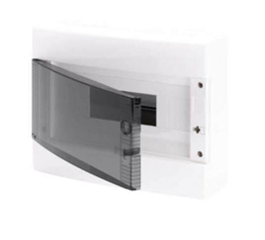 GREY SURFACE DB 1x8M CLEAR DOOR IP40