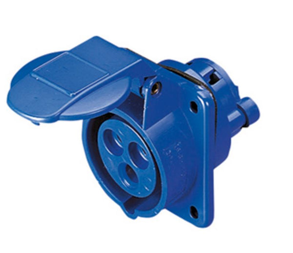 16A 2P+E 230V 10DEG SOCKET-OUT IP44 6H - 62x62 FLANGE