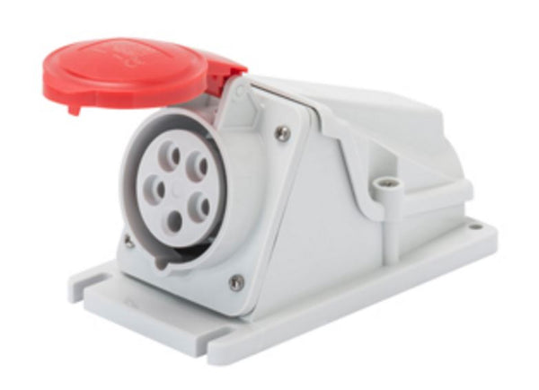 IP44 90°W.RECEPTACLE 2P+E 32A 400V 9H
