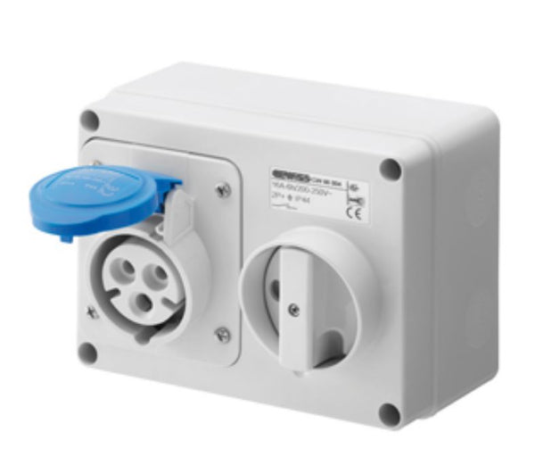 32A 2P+E 230V SUR. HOR.INT. SOCKET IP44 6H