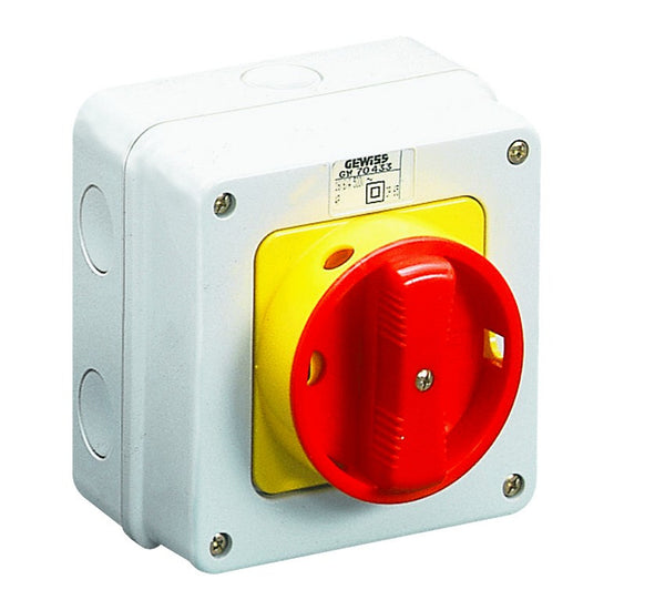 ENCL.ISOLATOR 2P 16A RED/YEL HAND IP65