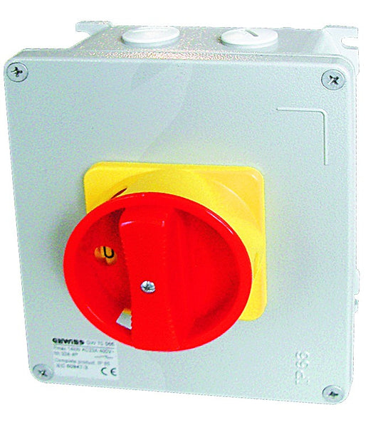 METAL BOX SURFACE MOUNT ISOLATOR 4P 63A RED KN.