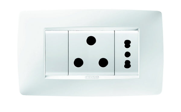 15A+EURO SW SOCKET OUTLET KIT CHORUS ONE WHITE
