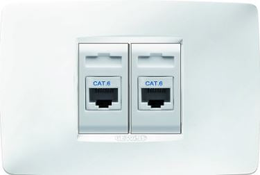 2x RJ45 CAT 6 UTP SOCKET KIT CHORUS ONE WHITE